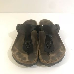 Birkenstock Sandals Gizeh Womens 5.5 Shiny Black